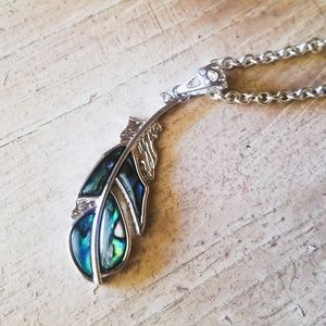 "Uniquely Handcrafted Jewelry - ""Poised Perception""- Sterling Feather Necklace"